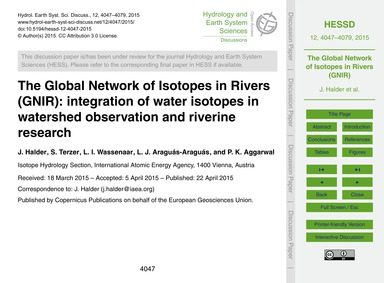 The Global Network of Isotopes in Rivers... by Halder, J.