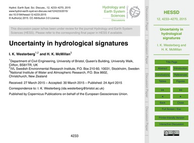 Uncertainty in Hydrological Signatures :... by Westerberg, I. K.