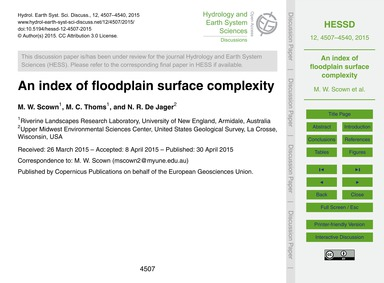 An Index of Floodplain Surface Complexit... by Scown, M. W.