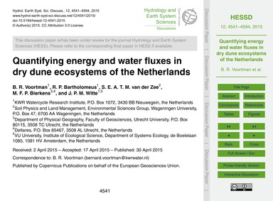 Quantifying Energy and Water Fluxes in D... by Voortman, B. R.