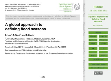 A Global Approach to Defining Flood Seas... by Lee, D.