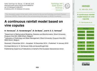 A Continuous Rainfall Model Based on Vin... by Vernieuwe, H.