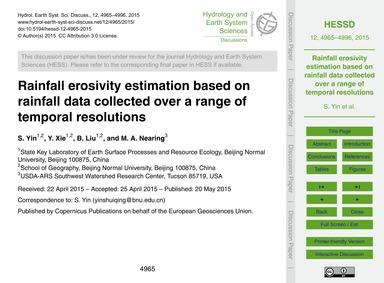 Rainfall Erosivity Estimation Based on R... by Yin, S.