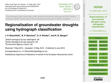 Regionalisation of Groundwater Droughts ... by Bloomfield, J. P.
