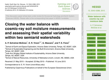 Closing the Water Balance with Cosmic-ra... by Schreiner-mcgraw, A. P.