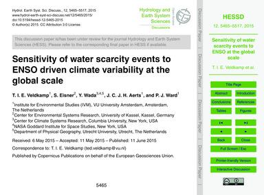 Sensitivity of Water Scarcity Events to ... by Veldkamp, T. I. E.