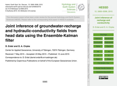 Joint Inference of Groundwater-recharge ... by Erdal, D.