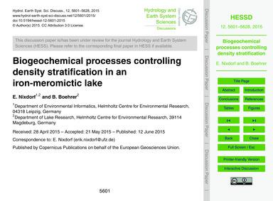 Biogeochemical Processes Controlling Den... by Nixdorf, E.