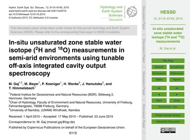 In-situ Unsaturated Zone Stable Water Is... by Gaj, M.