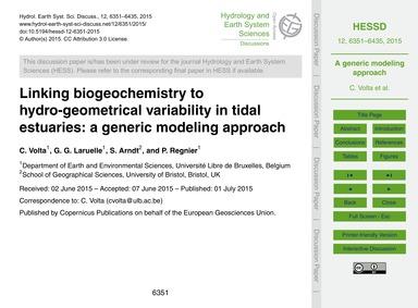 Linking Biogeochemistry to Hydro-geometr... by Volta, C.