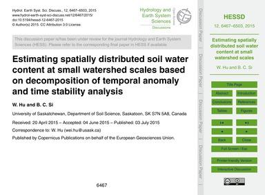 Estimating Spatially Distributed Soil Wa... by Hu, W.