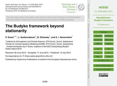 The Budyko Framework Beyond Stationarity... by Greve, P.