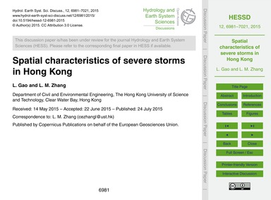 Spatial Characteristics of Severe Storms... by Gao, L.