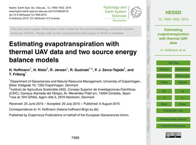 Estimating Evapotranspiration with Therm... by Hoffmann, H.