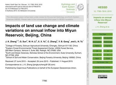 Impacts of Land Use Change and Climate V... by Zheng, J. K.