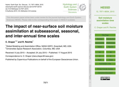 The Impact of Near-surface Soil Moisture... by Draper, C.