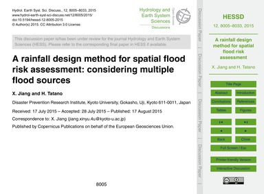A Rainfall Design Method for Spatial Flo... by Jiang, X.