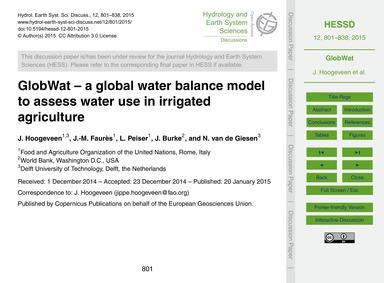 Globwat – a Global Water Balance Model t... by Hoogeveen, J.