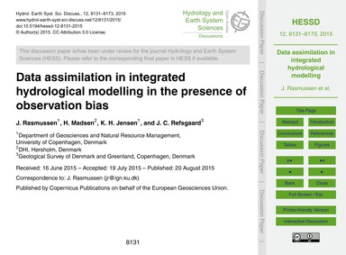 Data Assimilation in Integrated Hydrolog... by Rasmussen, J.