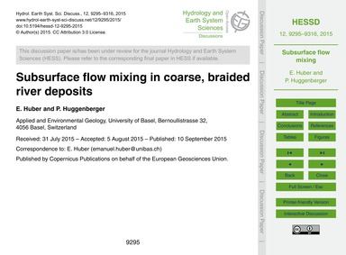 Subsurface Flow Mixing in Coarse, Braide... by Huber, E.