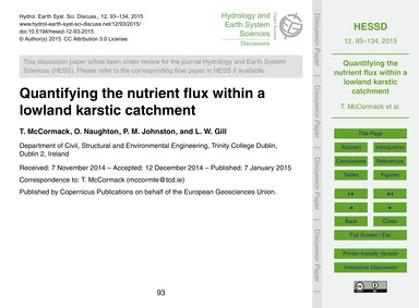 Quantifying the Nutrient Flux Within a L... by McCormack, T.