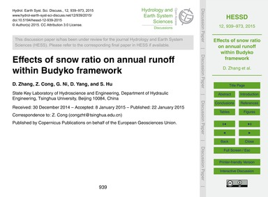 Effects of Snow Ratio on Annual Runoff W... by Zhang, D.