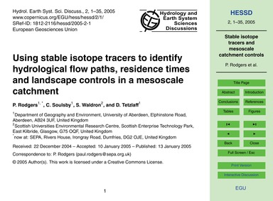 Using Stable Isotope Tracers to Identify... by Rodgers, P.