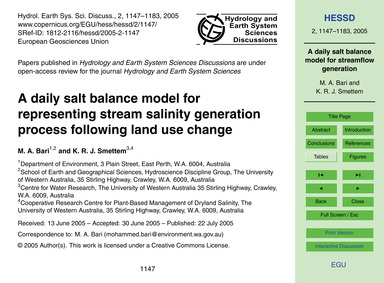 A Daily Salt Balance Model for Represent... by Bari, M. A.