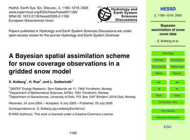 A Bayesian Spatial Assimilation Scheme f... by Kolberg, S.