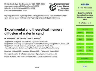 Experimental and Theoretical Memory Diff... by Iaffaldano, G.