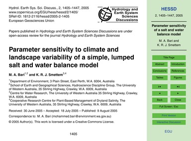 Parameter Sensitivity to Climate and Lan... by Bari, M. A.