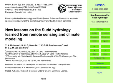 New Lessons on the Sudd Hydrology Learne... by Mohamed, Y. A.