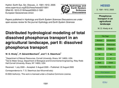 Distributed Hydrological Modeling of Tot... by Hively, W. D.