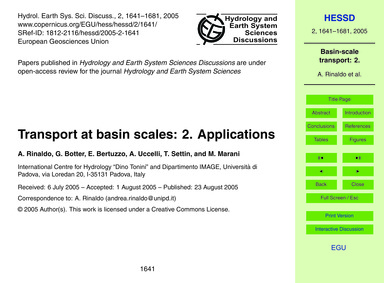 Transport at Basin Scales: 2. Applicatio... by Rinaldo, A.