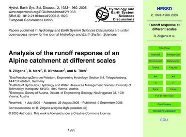 Analysis of the Runoff Response of an Al... by Zillgens, B.