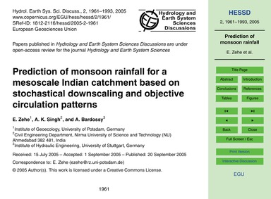Prediction of Monsoon Rainfall for a Mes... by Zehe, E.