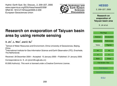 Research on Evaporation of Taiyuan Basin... by Jin, X.
