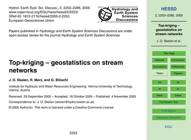 Top-kriging – Geostatistics on Stream Ne... by Skøien, J. O.