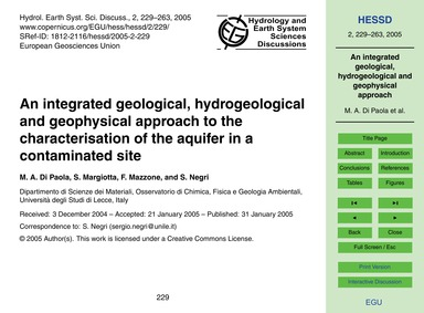An Integrated Geological, Hydrogeologica... by Di Paola, M. A.