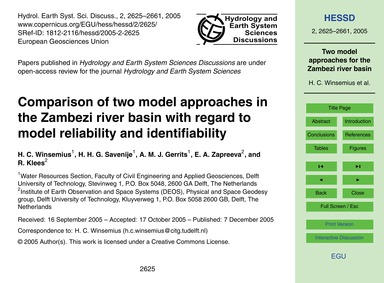 Comparison of Two Model Approaches in th... by Winsemius, H. C.