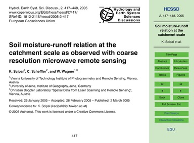 Soil Moisture-runoff Relation at the Cat... by Scipal, K.