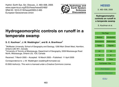 Hydrogeomorphic Controls on Runoff in a ... by Kaufman, S. C.