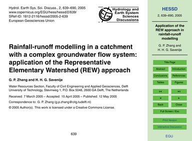 Rainfall-runoff Modelling in a Catchment... by Zhang, G. P.