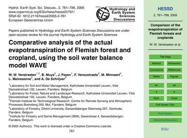 Comparative Analysis of the Actual Evapo... by Verstraeten, W. W.