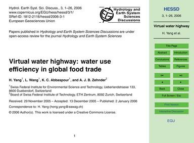 Virtual Water Highway: Water Use Efficie... by Yang, H.