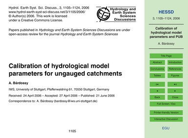 Calibration of Hydrological Model Parame... by Bárdossy, A.
