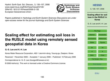 Scaling Effect for Estimating Soil Loss ... by Lee, G.-s.