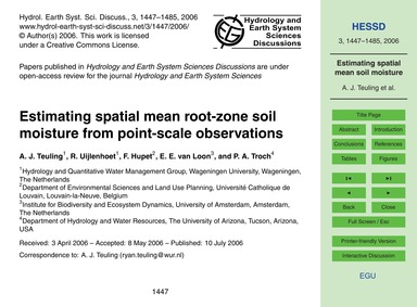Estimating Spatial Mean Root-zone Soil M... by Teuling, A. J.