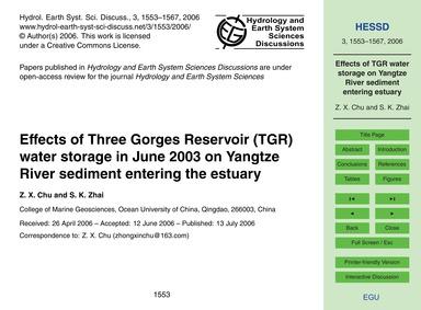 Effects of Three Gorges Reservoir (Tgr) ... by Chu, Z. X.