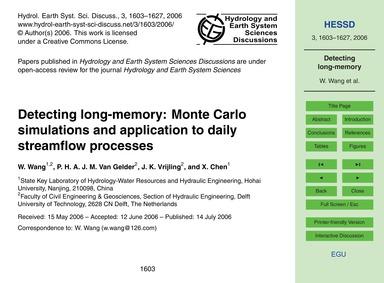 Detecting Long-memory: Monte Carlo Simul... by Wang, W.